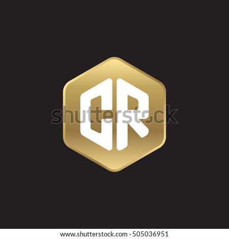 Initial letters CR rounded hexagon shape gold modern logo