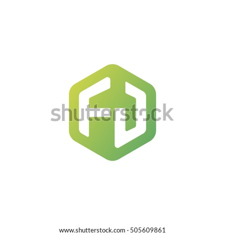 Initial letters FJ rounded hexagon shape green simple modern logo