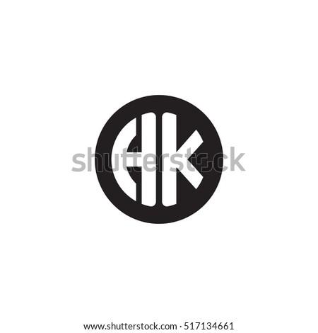 Initial Letters Hk Circle Shape Monogram Stockvector 517134661