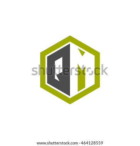 Initial letters QM negative space hexagon shape logo green black gray