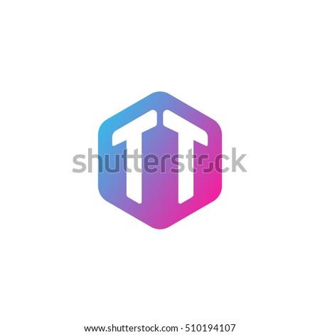 Initial Letters TT Rounded Hexagon Shape Stock-Vektorgrafik ...