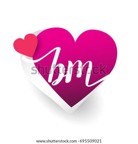 Initial Logo Letter Bm Heart Shape Stock Vector 695509021