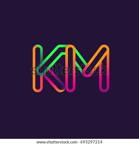 Initial Logo Letter Km Linked Outline Rounded Logo Colorful Initial Logo For Business Name