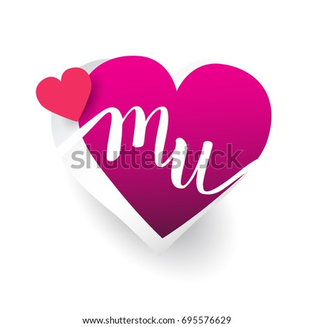 initial logo letter MU with heart shape red colored, logo design for wedding invitation, wedding name and business name.