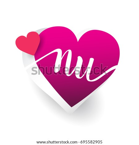 initial logo letter NU with heart shape red colored, logo design for wedding invitation, wedding name and business name.