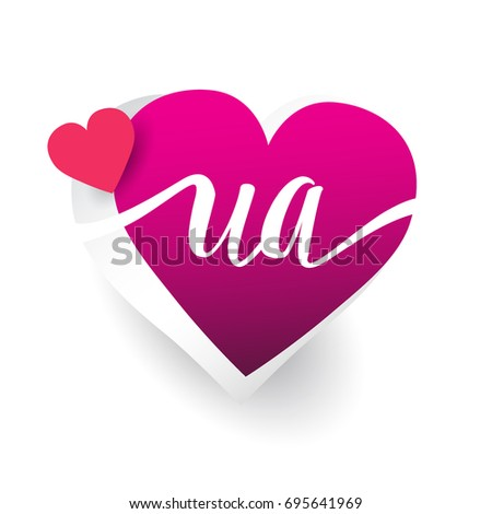 initial logo letter UA with heart shape red colored, logo design for wedding invitation, wedding name and business name.