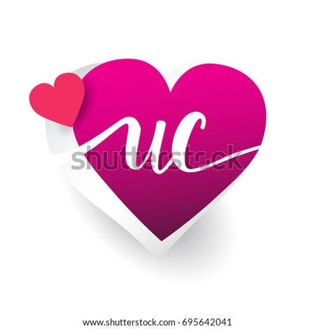 initial logo letter UC with heart shape red colored, logo design for wedding invitation, wedding name and business name.