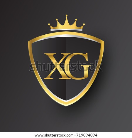 Initial Logo Letter Xg Shield Crown Stock Photo Photo Vector