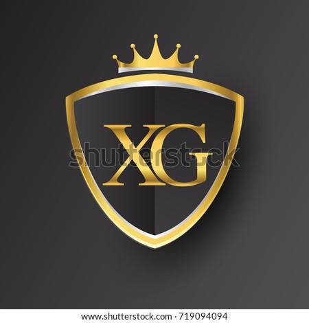 Initial Logo Letter Xg Shield Crown Stock Vector 719094094