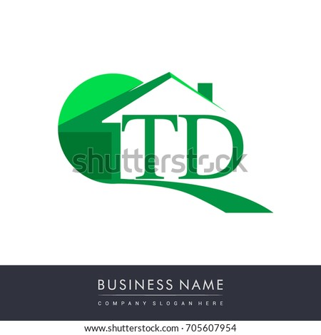 Initial Logo Td House Icon Business Stock Vector 705607954