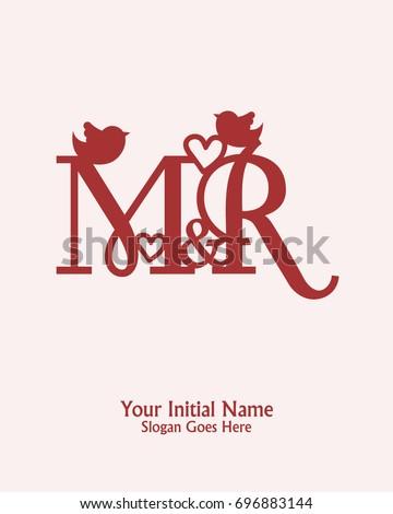 Initial Name M R Logo Template Vector