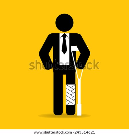 injured cartoon businessman in bandage with crutches : be careful prevent accidents : safety health concept on yellow background vector - stock vector