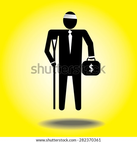 injured cartoon businessman in bandage with crutches.Mobile wallet dollar. - stock vector