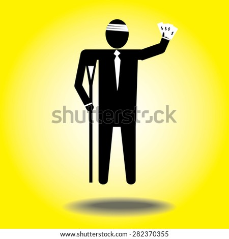 injured cartoon businessman in bandage with crutches.Money dollar - stock vector