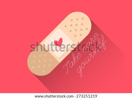 """injury tape plaster flat design vector style with text """"Take care yourself"""" - stock vector"""