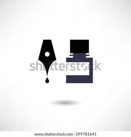 Ink and pen icon - stock vector