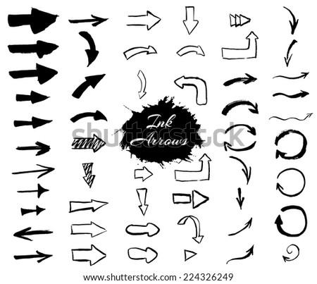 Ink arrows collection. Vector eps10. - stock vector