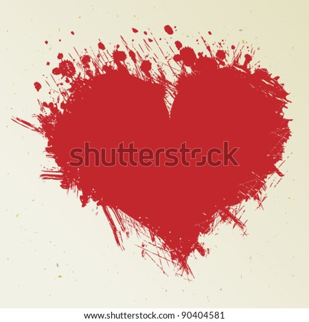 Ink blot look like heart - stock vector