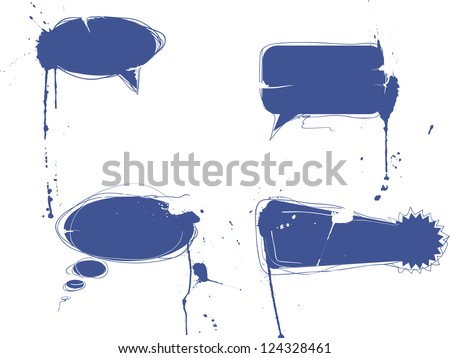 Ink blot speach bubbles - stock vector