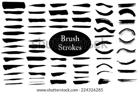 Ink brush strokes vector collection. Eps10. - stock vector