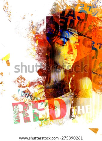 Ink composition with a girl and text in red colors - stock vector