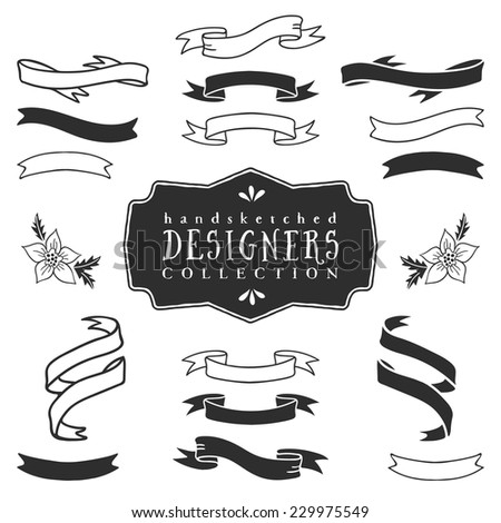 Ink decorative ribbon banners. Designers collection. Hand drawn illustration. Design elements. - stock vector