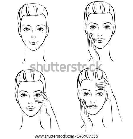 Ink Drawing of Four Female faces. - stock vector