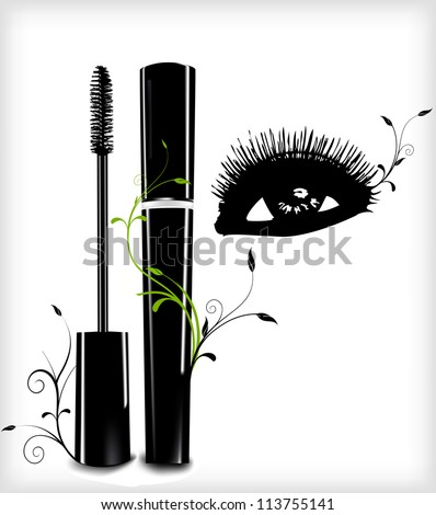 Ink for eyelashes with ornament and eye. Vector illustration - stock vector