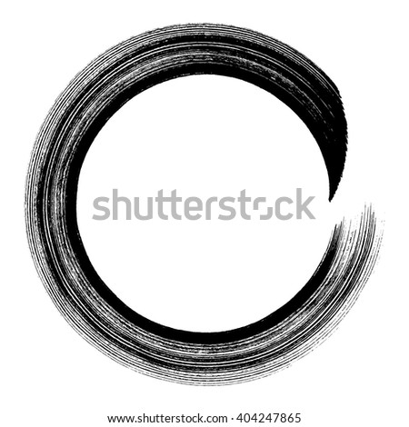 Ink grunge circle frame, vector illustration