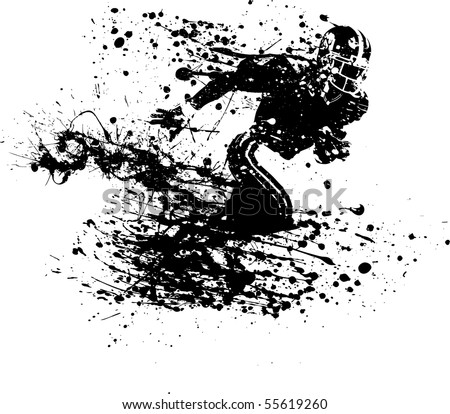 ink guy football player - stock vector