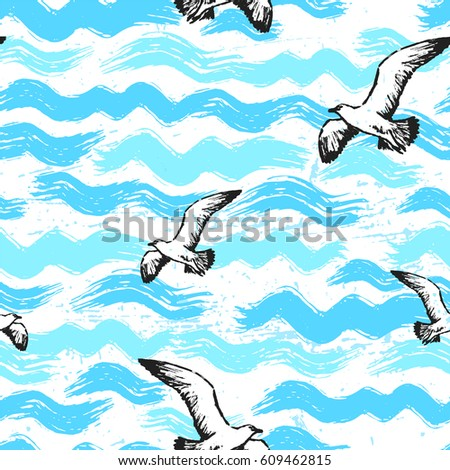 Ink hand drawn abstract sea seamless pattern with waves and seagulls