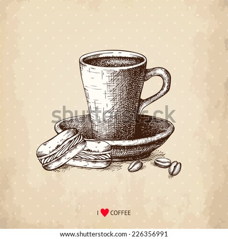 Ink hand drawn coffee cup with macaroons illustration on aged background. Vintage vector coffee illustration. I love coffee - stock vector