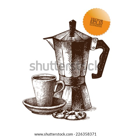 Ink hand drawn coffee pot and coffee cup  illustration on white background. Vintage vector coffee illustration. I love coffee - stock vector