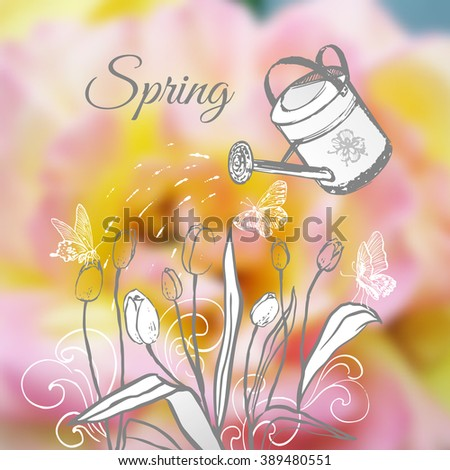 Ink hand drawn garden watering vector card/Blurred floral background with monochrome spring gardening composition