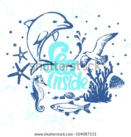 Ink hand drawn Sea inside vector card with marine flora and fauna