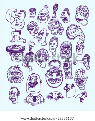 Ink Heads #2 - Doodles - Vectors - stock vector