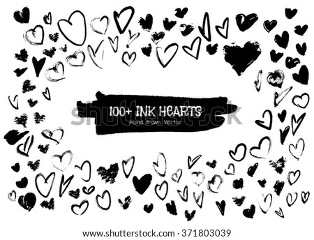 Ink hearts for valentines design creation. Handdrawn ink heart. Vector isolated illustration handdrawn black hearts.  - stock vector