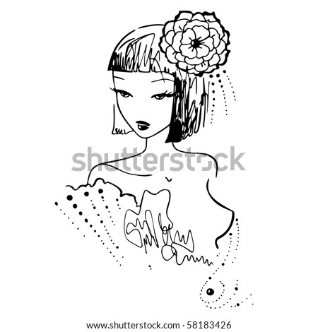 Ink illustration of fashion woman in a loose, spontaneous style. Live traced and cleaned. - stock vector