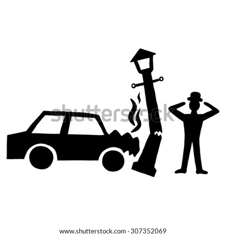 Ink image of car accident with lamppost - stock vector