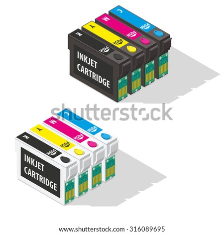Ink jet cartridges isometric icon vector graphic illustration - stock vector