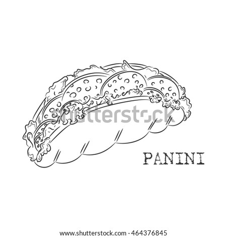 ink panini sketch isolated on white background italian sandwich vector famous italian food design