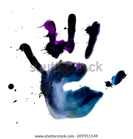 Ink print of human hand with blobs and splashes - stock vector
