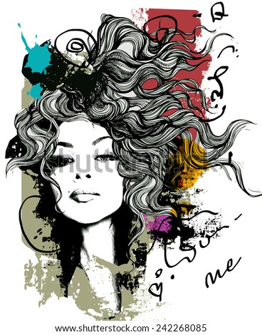 Ink print  with girl and decorative hair for T-shirt - stock vector