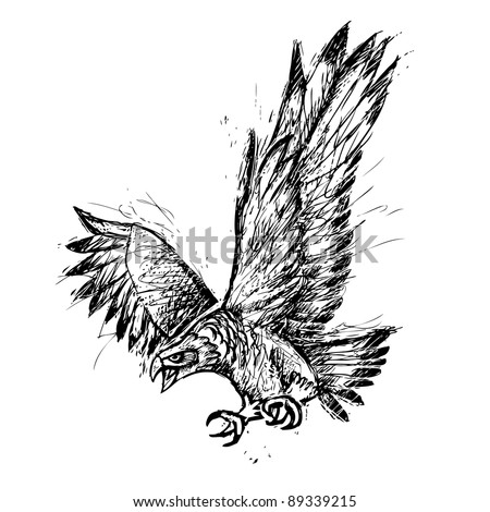 Ink sketch of a flying angry eagle - stock vector