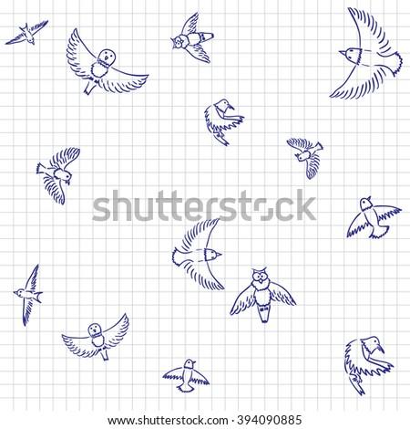 Ink sketch of birds on notebook paper - vector pattern. - stock vector
