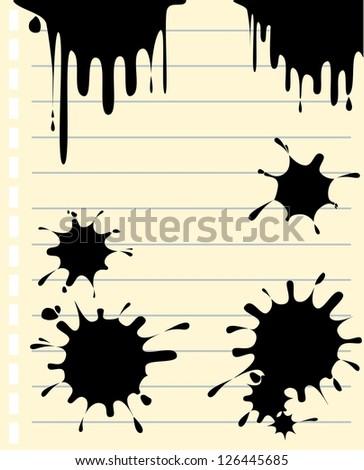 ink splash on note paper - stock vector