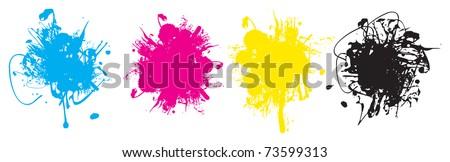 ink splashes - stock vector