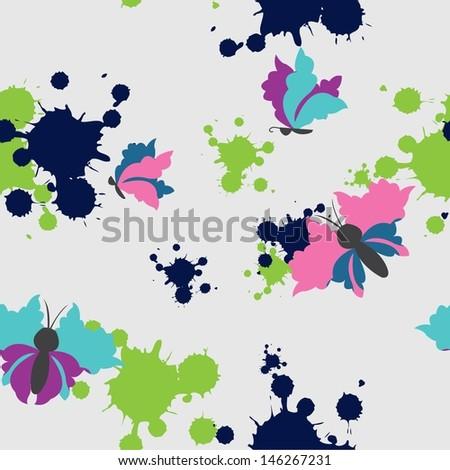 Ink splashes butterflies - stock vector