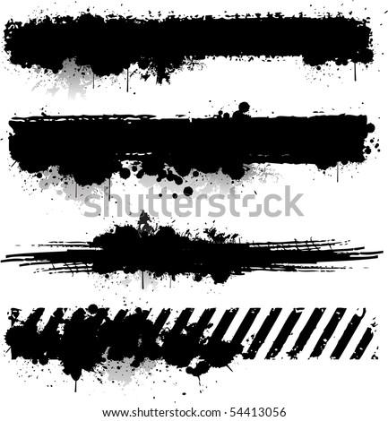 Ink splat banners - stock vector