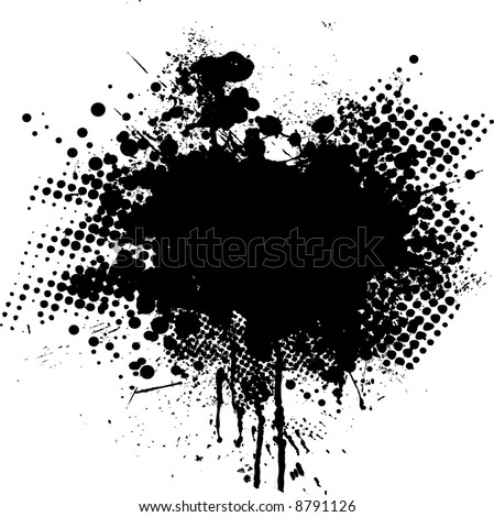 Ink splat overlayed by halftone dots in black and white - stock vector
